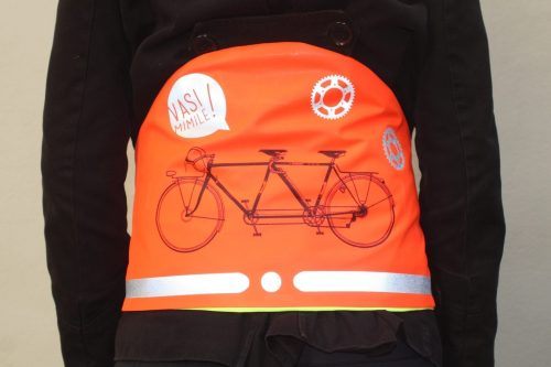 Une ceinture de visibilité orange de Vasimimile avec un image d'un tandem