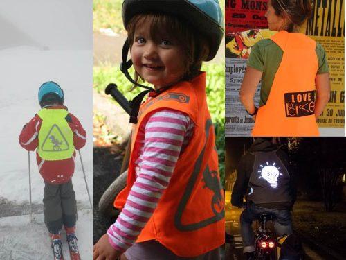 Plusieurs photos d'enfants et adultes qui portent des gilets de Vasimimile