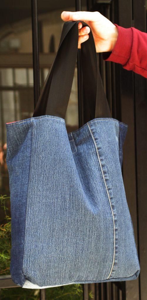 Sac pour cyclistes réversible côté jeans
